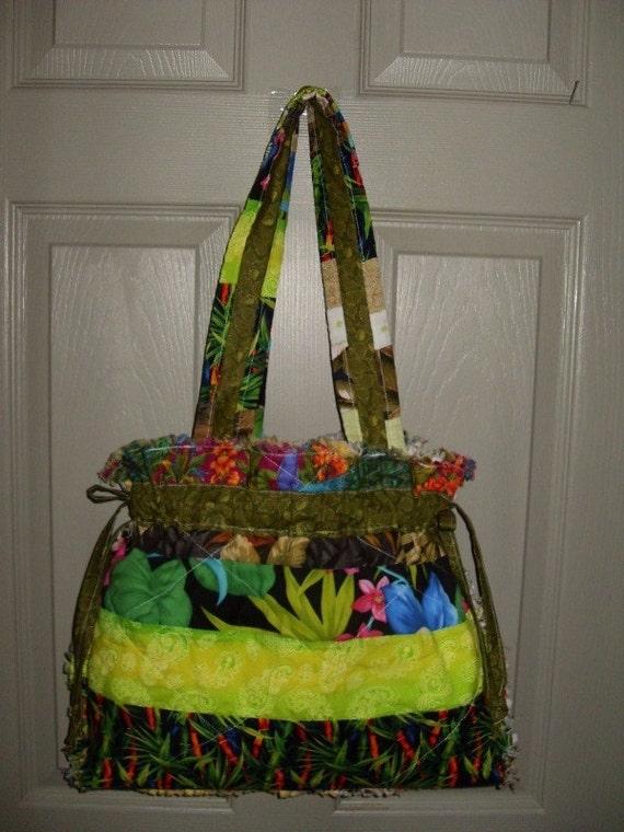 Rag Quilt Patchwork Gypsy Hobo Boho Tote Diaper Bag Handbag