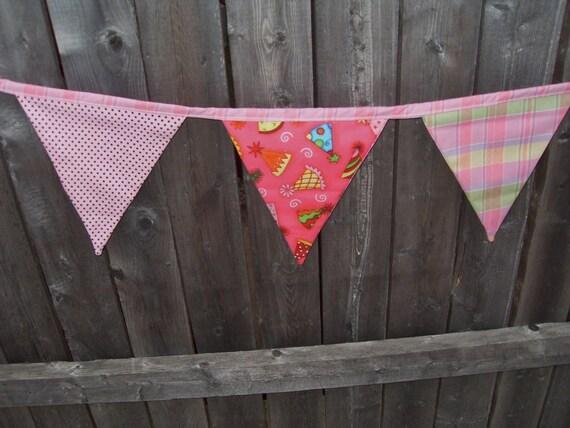 birthday hat pink fabric flag banner teacher classroom