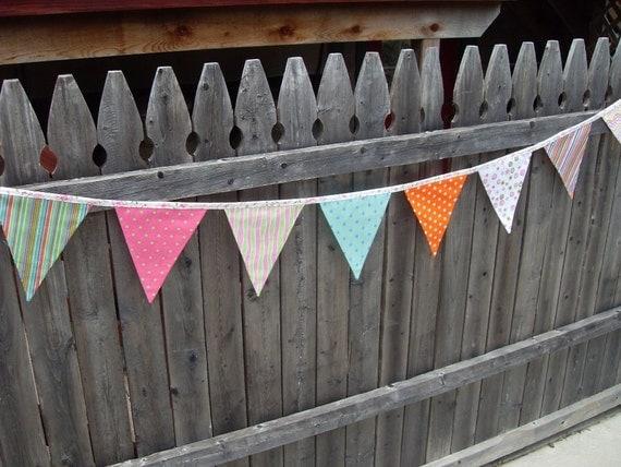 random bright polka dot and stripe fabric flag banner