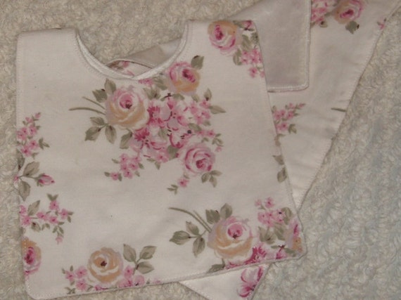 Ashwell roses and minky bib and burp cloth set