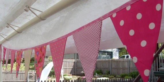 Ready to Ship Birthday pink polka dot fabric flag banner teacher classroom