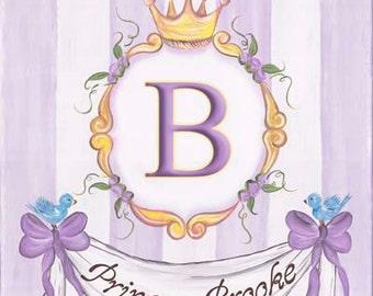 Personalized Lavendar Princess Art Girls Kids Stretched Canvas 11x14