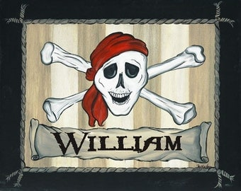 Personalized Pirate Pirates Buccaneers Treasure Map Kids Boys Art Stretched Canvas 11x14