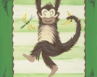 Going Bananas Boy Monkey Safari Jungle Animal Personalized Kids Art Stretched Canvas 11x14