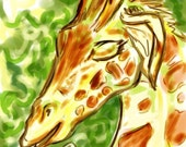Prints Elegant Giraffe Takes Green Tea in the Golden Morning Digital Art Print