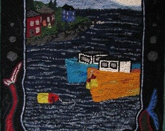 Boats and Buoys - Hooked Rug