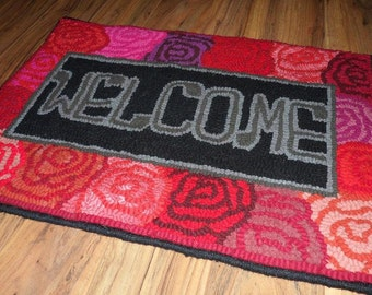 A Rosy Welcome - Primitive Hooked Rug