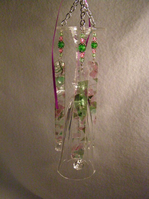 Pink and Green Crystal Wine Glass Wind Chime
