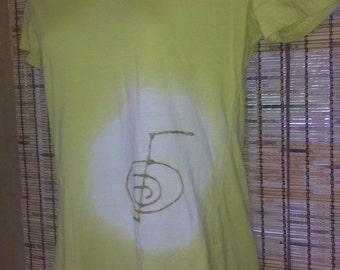 sale Yellow ladies M REIKI power symbol scoopneck tee t-shirt energy