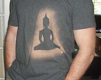 SALE Buddha On Your Side stenciled Mens dark grey gray tshirt XL