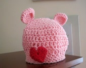 Crochet Baby Hat, Baby Bear Hat, Baby Girl Hat, Baby Animal Hat, Crochet Bear Hat, Newborn Bear Hat, Valentines Hat, Infant Bear Hat, Pink