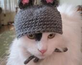Crochet Cat Hat Mouse Hat Pet Costume Halloween Photo Prop Grey Pink