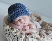 Crochet Baby Hat, Crochet Newborn Hat, Crochet Infant Hat, Crochet Newsboy Hat, Boy, Baby Boy Hat, Blue, Infant Boy Hat, Newborn Boy Hat,
