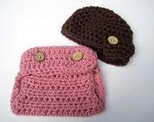 Crochet Baby Hat, Girl Diaper Cover Set, Baby Girl Hat, Baby Girl Newsboy Hat, Newborn Girl Hat, Infant Girl Hat, Photo Prop, Pink
