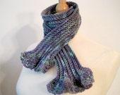 Women's Scarf, Skinny Scarf, Crochet,  Scarflette. Purple, Green