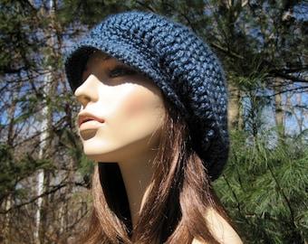 Womens Newsboy Cap, Adult Newsboy Hat, Crochet Hat for Women, Teens Winter Hat, Adult Winter Hat, Hippie Slouchy Beanie, Fall Fashion, Blue