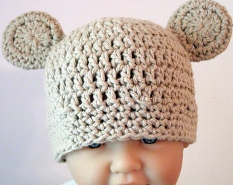 Crochet Bear Hat, Baby Bear Hat, Crochet Baby Hat, Newborn Bear Hat, Baby Boy Hat, Baby Girl Hat, Newborn Hat, Infant Bear Hat, Tan