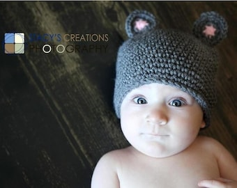 Baby Hat, Newborn Hat, Infant Hat, Baby Boy Hat, Baby Girl Hat, Baby Mouse Hat, Newborn, Infant Mouse Hat, Baby Animal Hat, Baby Beanie Grey