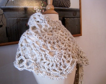 Crochet Wedding Shawl, Crochet Shawl, Womens Capelet, Womens Cape, Womens Wrap, Lace Wrap, Womens Shawl, Wheat, Crochet Cape, Wrap Shawl