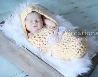 Newborn Girl Cocoon, Baby Girl Cacoon, Infant Hooded Cocoon, Crochet Baby Cocoon, Girl Swaddle Sack, Newborn Photography Prop, Yellow