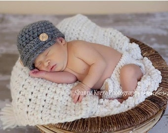Crochet Baby Diaper Cover Set, Boy Baby Hat, Boy Newsboy Hat, Newborn Diaper Cover, Infant Beanie, Baby Boy Photo Prop, Grey