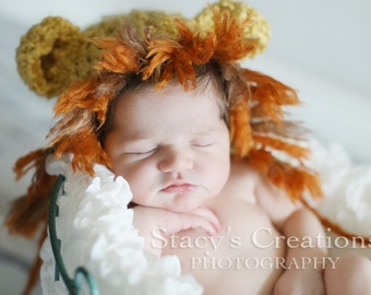 Baby Lion Hat and Diaper Cover, Crochet Newborn Hat, Lion Infant Hat, Infant Diaper Cover Set, Baby Photo Prop, Baby Animal Hat, Unisex