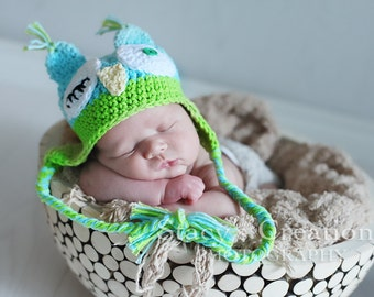 Baby Boy Owl Hat, Winking Owl Hat, Baby Boy Hats, Hats for Baby Boys, Newborn Owl Hat, Baby Animal Hat, Crochet Owl Hat, Blue, Green