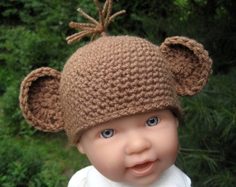 Baby Monkey Hat, Crochet Baby Hat, Baby Halloween Hat, Baby Girl Hat, Baby Boy Hat, Newborn Hat, Crochet Baby Beanie, Brown, Infant Hat,
