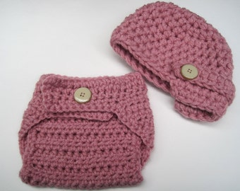 Crochet Baby Hat and Diaper Cover Set, Baby Girl Hat, Girl Diaper Cover, Girl Newborn Hat, Newborn Diaper Cover, Baby Diaper Cover, Pink