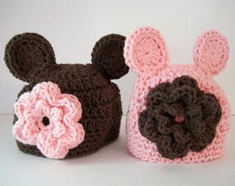 Newborn Photo Prop, Twin Baby Hats, Twin Hat Set, Twin Girl Hats, Baby Bear Hats, Newborn Twin Hats, Infant Twin Hats, Crochet Baby Hats