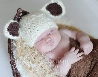 Newborn Baby Hat, Crochet Baby Hat, Baby Lamb Hat, Ivory, Baby Boy Hat, Baby Girl Hat, Crochet Newborn Hat, Baby Animal Hat, Infant Hat,