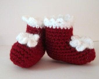 Baby Santa Booties, Baby Booties, Christmas Booties, Crochet Booties, Baby Photo Prop, Baby Girl Booties, Newborn Girl Booties, Infant, Red