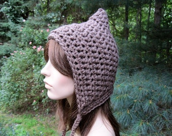 Women's Pixie Hat, Crochet Hat, Adult Gnome Hat, Fall Fashion, Womens Winter Hat, Adult Hat, Teen Girl Hat, Hood Hat, Womens Hat, Taupe
