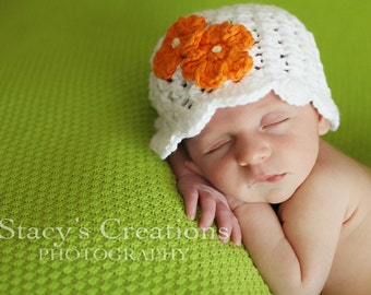 Cotton Baby Hat, Crochet Baby Hat, Baby Girl Hat, Crochet Girl Hat, Baby Sun Hat, Baby Flower Hat, Newborn Hat, Infant Girl Hat, White