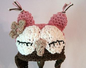 Newborn Girl Owl Hat, Sleepy Baby Owl Hat, Crochet Hat Photo Prop, Infant Girl Hat, Baby Girl Clothes, Newborn Halloween Hat, Pink