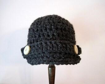 Crochet Baby Hat, Crochet Newborn Hat, Baby Boy Hat, Baby Newsboy Hat, Infant Boy Hat, Newborn Boy Hat, Hat for Boys, Baby Beanie, Grey