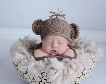 Infant Monkey Hat, Newborn Monkey Hat, Child Crochet Hat, Baby Hat Crochet, Newborn Boy Hat, Infant Girl Hat, Brown, Crochet Baby Hat