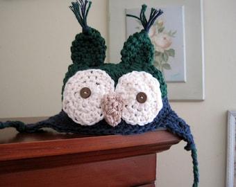 Crochet Baby Owl Hat, Newborn Owl Hat, Owl Infant Hat, Baby Boy Owl Hat, Baby Animal Hat, Hat for Baby Boys, Green