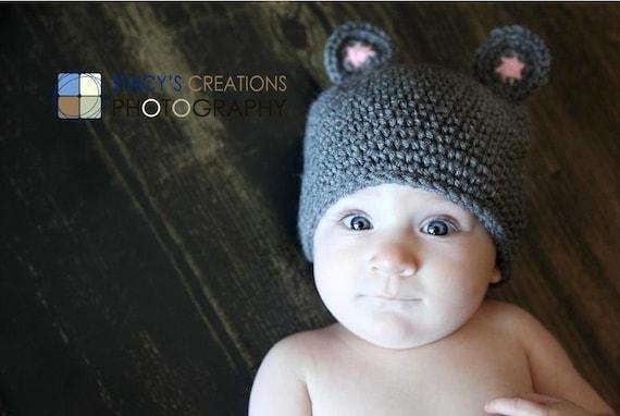 Baby Hat, Newborn Hat, Infant Hat, Baby Boy Hat, Baby Girl Hat, Baby Mouse Hat, Newborn, Infant Mouse Hat, Baby Animal Hat, Baby Beanie Grey