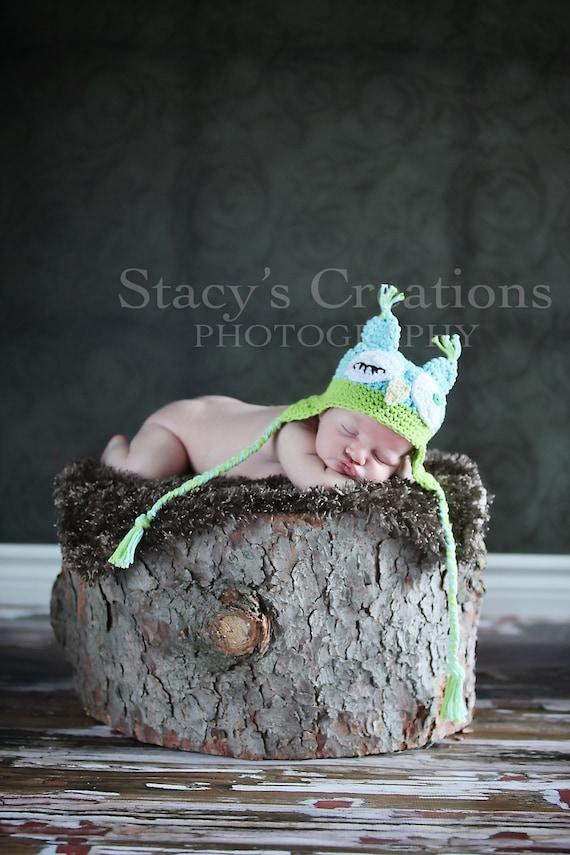 Crochet Baby Hat, Baby Boy Hat, Baby Owl Hat, Baby Boy Owl Hat, Newborn Boy Hat, Infant Owl Hat, Crochet Owl Hat, Baby Animal Hat, Blue,
