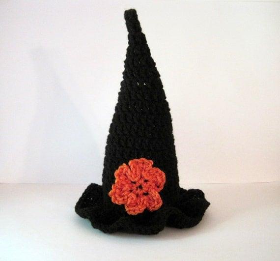 Baby Halloween Hat, Costume, Crochet Baby Hat, Baby Witch Hat, Baby Girl Hat, Newborn Witch Hat, Crochet Witch Hat, Newborn Girl Hat, Infant