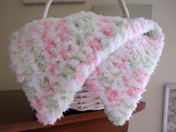 Crochet Baby Blanket Baby Girl Blanket Newborn Infant Mini Mat Photo Prop Pink White Lime Fluffy