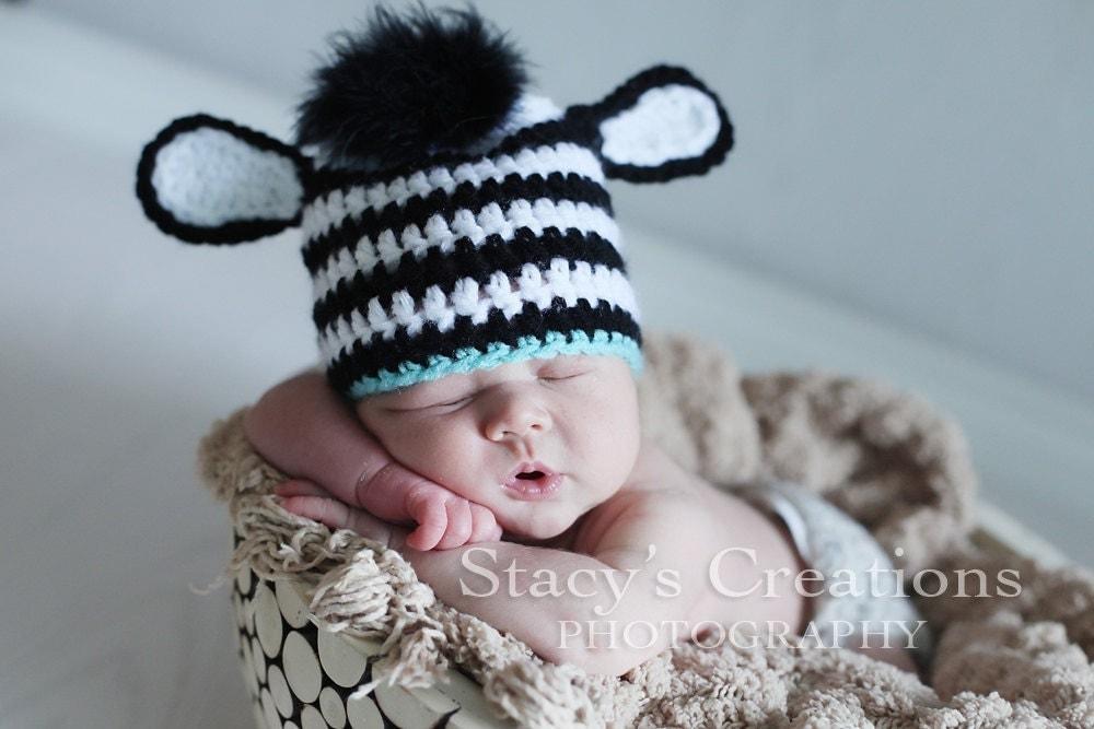 Baby Zebra Hat Crochet Baby Hat Baby Boy Hat by Monarchdancer