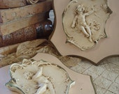 Vintage Pair Shabby Cottage Pink and Cream Cherub Plaques
