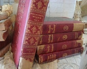 Vintage Set 5 Red Shabby Books Cottage Valentine