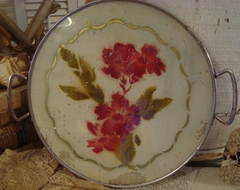 Vintage German Shabby Painted Glass Tray Cottage Flowers