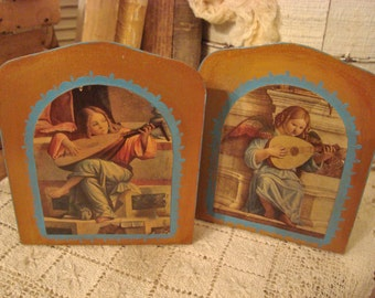 SALE Vintage Gilt Italy Cherub Book Ends