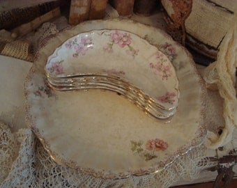 Vintage Shabby Cottage Chic Flowers Bone Dishes and Platter
