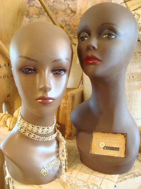 Vintage Pair Mannequin Head Busts African American By Fleachic