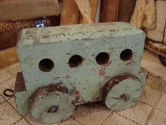 Vintage Shabby Cottage Mint Green Childs Toy Train Piece